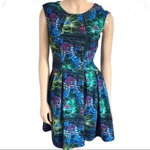 Anthro Rare Eva Franco Jungle Bee Fit&Flare Dress
